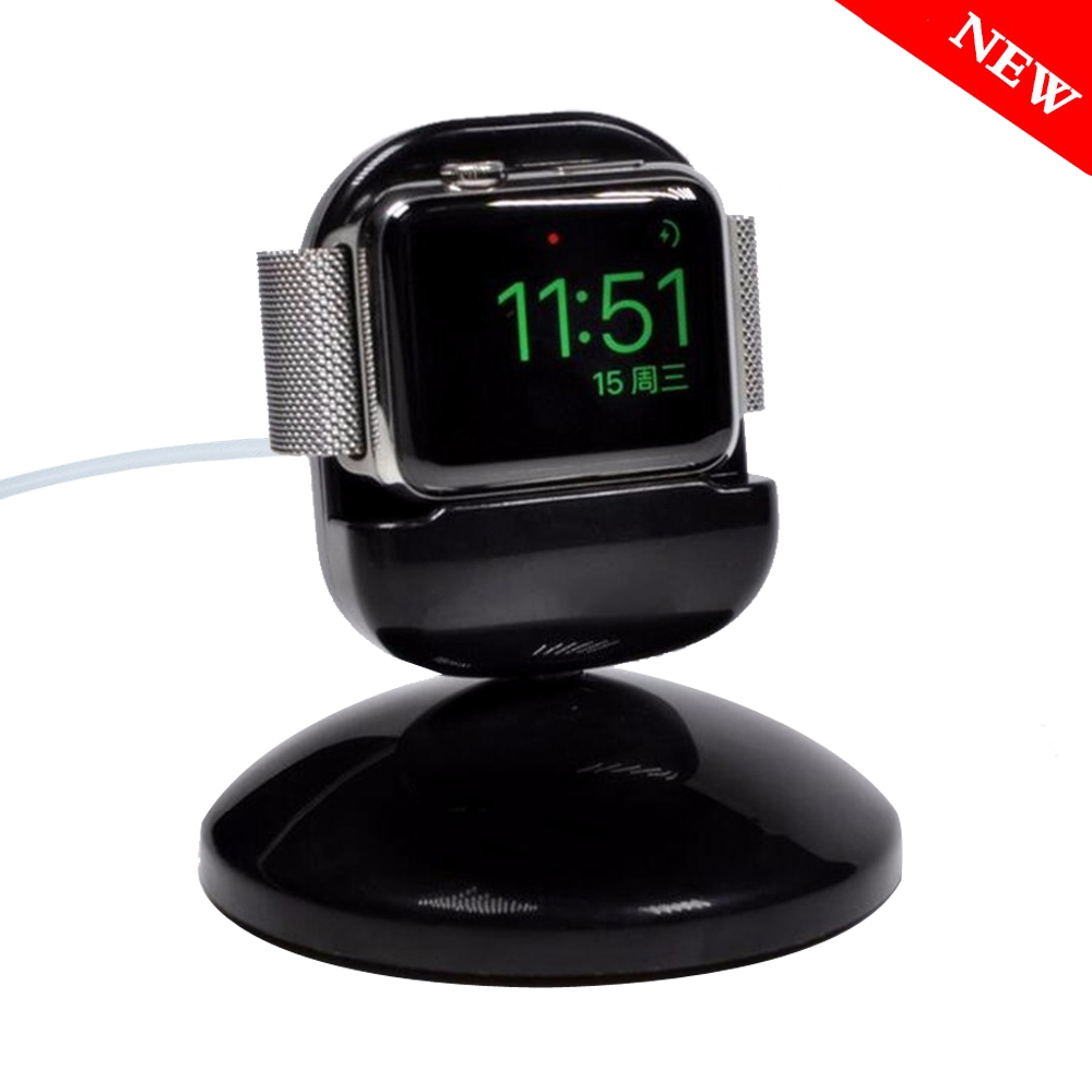 Night charging dock stand for apple watch 42mm 38mm Charger Dock Station fit men/women Bedside clock unique design White Black smart watch charger cradle with usb charging cable for huawei watch 1 band power charge dock station magnetic charger for huawei