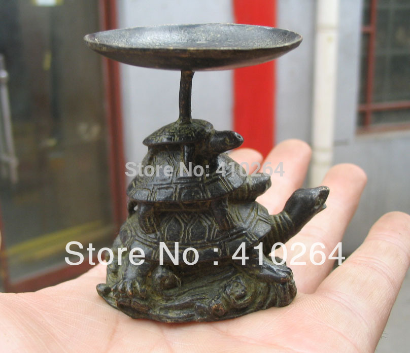 $old Craft$ Lamp-stand Three Turtle Chinese Classic Bronze Statue (A0314)
