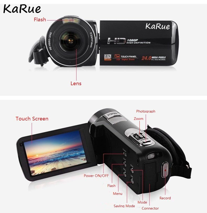 Karue HDV-Z816x Digital Zoom Max. 24MP 1080P Full HD Digital Video Camera Camcorder with Digital Rotation LCD Touch Screen 5