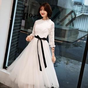 Image 5 - Elegant Simple Lace Long sleeved White Evening Dress Female 2019 New  Costume  Formal Dresses Evening Gown Vestido De vestido