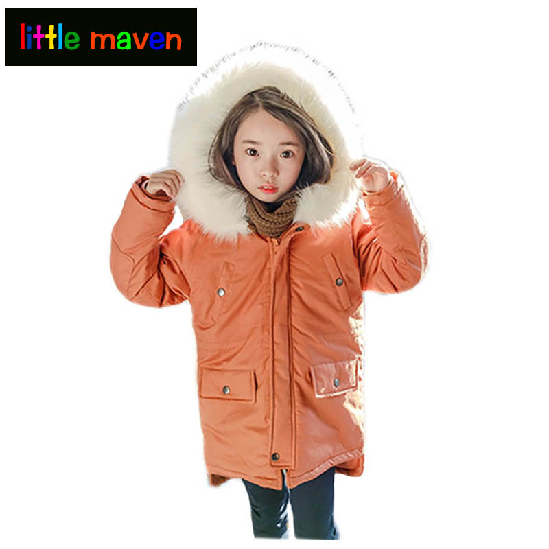 Winter Girls Parkas Cotton-Padded Thickening Outwear& Jacket 2017 Brand Baby Girl&Boys School&Casual Hooded Clothes with Pocket 2017 winter children cotton padded parkas clothes baby girls