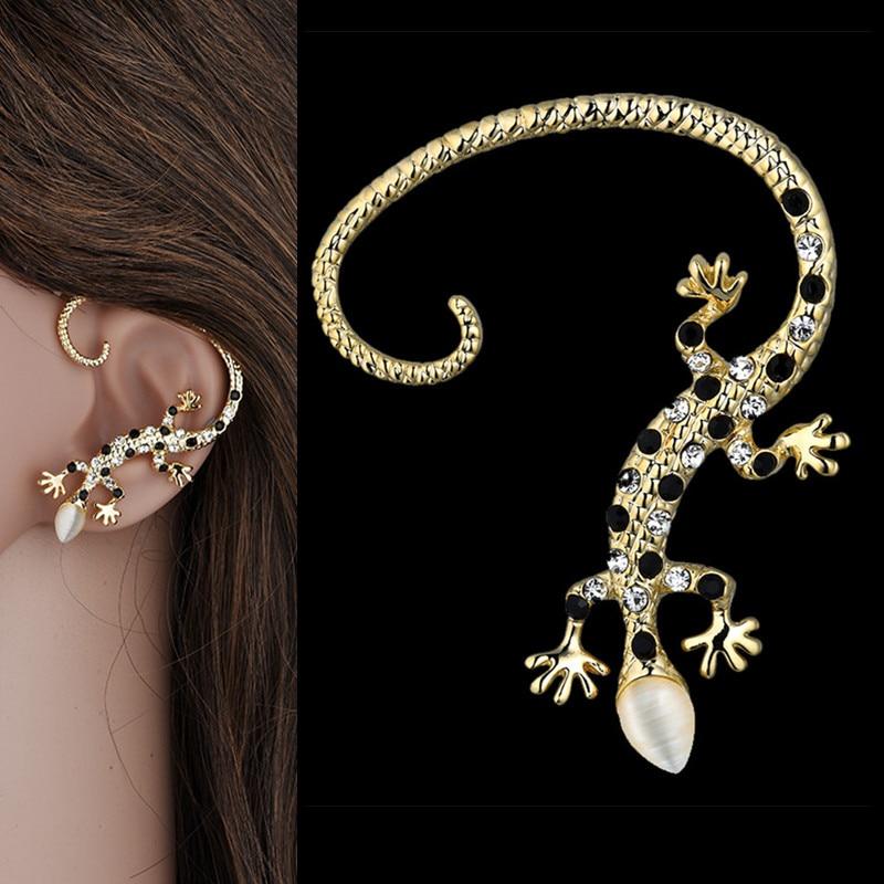 Brincos Ear Cuffs Clip Earrings for Women Jewelry 2017 Gothic Punk Lizard Gold Color Zirconia Earrings on Left Ear