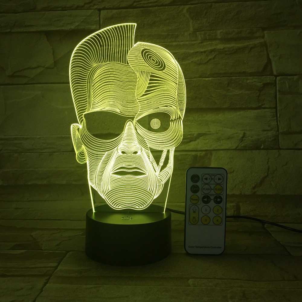 Halloween Skull Man 3D Night Light Optical Illusion Table Light Mood Lamp Touch Remote Control 7 Colors Light Kid Gift 3D-664 cat 3d night light animal changeable mood lamp led 7 colors usb 3d illusion table lamp for home decorative as kids toy gift