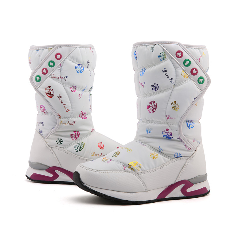 zimní holínky pro dívky - Fashion 2020 girls winter boots children Girls Boots childrens shoes Waterproof Snow Boots  Warm Plush Winter Shoes Kids Boots
