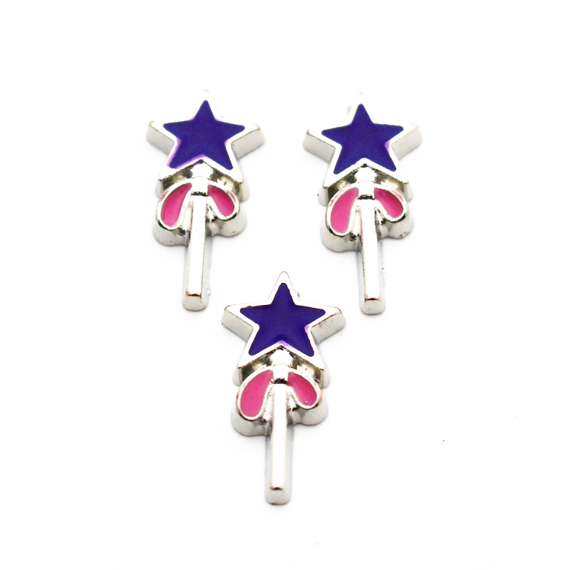 10pcs/lot Metal Enamel Magic Stick Floating Charms For Living Glass Floating Lockets Pendant Necklace Bracelet DIY Jewelry