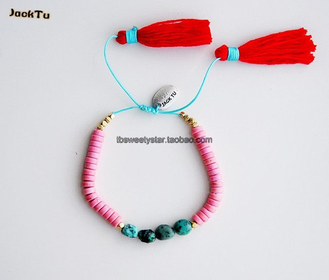 2017 pink square turquoise stone bracelet with red cotton tassels