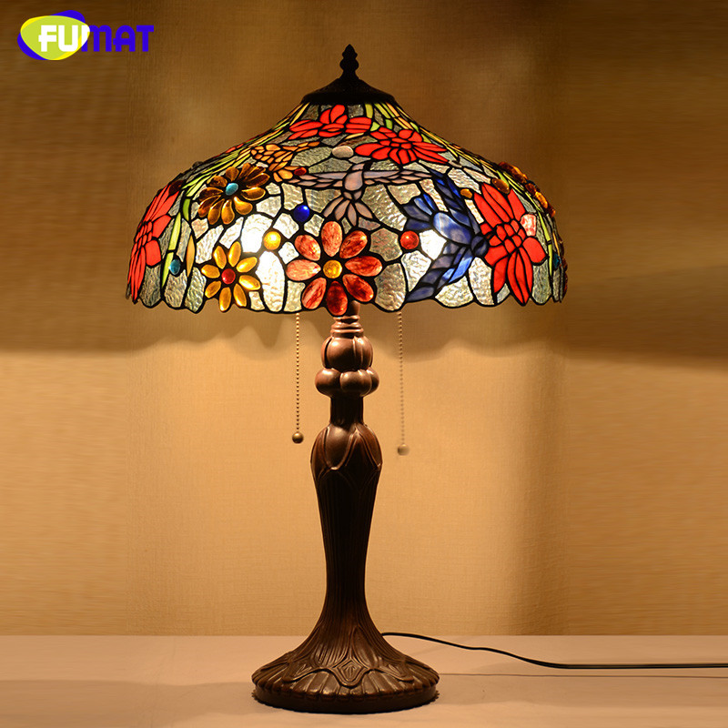 Tiffany Lamp European Style Classic Table Lamp Stained Glass Flowers Desk  Lamp Home Decor Living Room