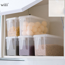 Wiilii Plastic Refrigerator Storage Box Vegetable Fruit Grains Beans Food Storage Container Boxes With Handle Kitchen Organizer