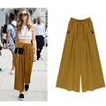 Verão das mulheres Harem Pants calça Casual Soltas de Algodão Blended Plissada Pockets Sólidos Cintura Elástica Calças Perna Larga Plus Size