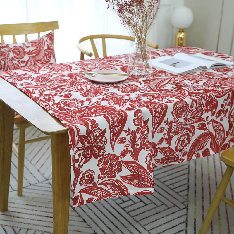 Image 4 - European Style Waterproof Red Flower Printed Tablecloth Rectangular Table Cover Wedding Party Home Textile Decor tafelkleed Hot-in Tablecloths from Home & Garden