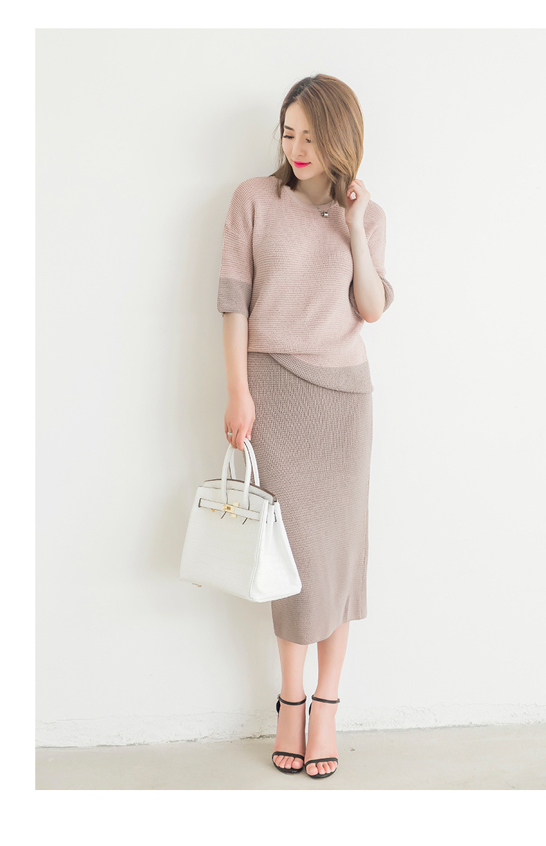 2019 New Arrival Women's Autumn Clothing Set Knitting Solid Patchwork O-Neck Pullover Top And Pencil Skirt Female Casual Suits