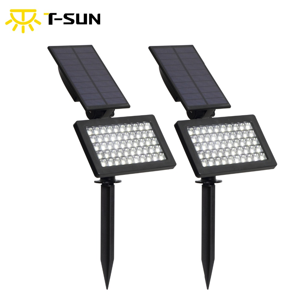 2 pack Solar al aire libre de la lámpara de iluminación 50 leds IP44 luz impermeable ajustable para jardín