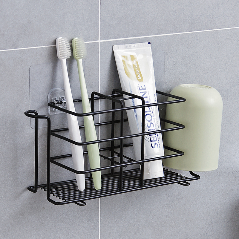 Wall Stand Toothbrush Toothpaste Storage Holder Iron Bathroom Toothpaste Storage Rack Toothbrush Holder Bathroom Accessories image