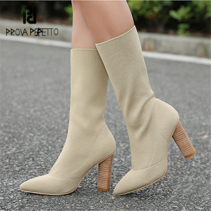 Prova Perfetto Stretch Fabric Ankle Boots for Women Chunky High Heels Pointed Toe Knit Sock Boots Women High Boots Sexy Pumps women ankle boots platform chunky heels pointed toe black women high heels boots sexy laides party boots shoes heels