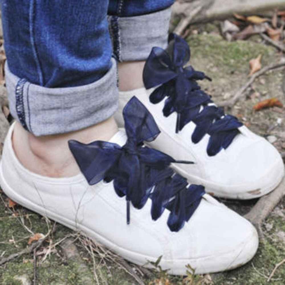 1 คู่ 110 ซม. Organza รองเท้าผู้หญิง Bow Shoelaces แบนผ้าไหมซาตินริบบิ้นผ้าใบรองเท้าเชือกผูกรองเท้ารองเท้าผ้าใบกีฬารองเท้าลูกไม้