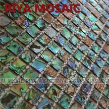 Free Shipping RIYA 15mm abalone paua sea shell natural color mosaic tile for interior house decoration wall 11pcs/lot