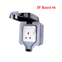 IP66 16A UK Standard Electrical Outlet Weatherproof Waterproof Power Socket With Switch for Outdoor Wall/ Bathroom AC 110~250V