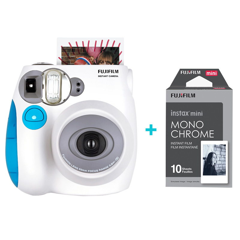 Fujifilm Instax Mini 7s Instant Film Photo Camera Blue and Monochrome Set Free Shipping, Accept Fujifilm Instax Mini Films new 5 colors fujifilm instax mini 9 instant camera 100 photos fuji instant mini 8 film