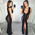 Fashion women dress 2017 new arrivals summer black sleeveless deep v-neck slim hip sexy party club wear split maxi dress