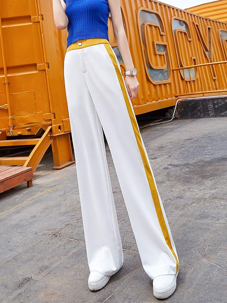 White Chiffon   Wide     Leg     Pants   Women High Waist Yellow Full Length Trousers Plus Size Streetwear Palazzo Summer Clothes for Women
