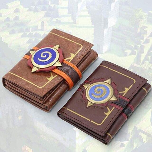 Hearstone carteira com três dobras, carteira curta em couro com gravura em heróis de warcraft hearstone