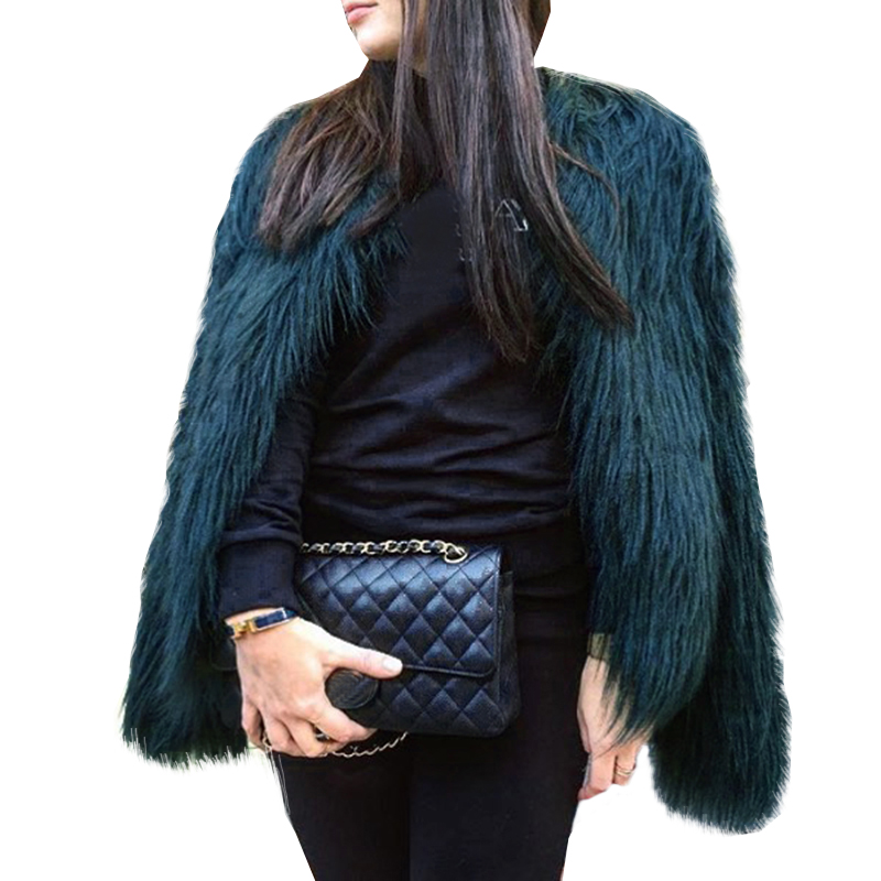 Floating Hair Jacket Fur Coat Women Lady Fur Overcoat Imitation Fur Faux Fox Jackets Hairy Party Fur Warm Coat Plus Size XXXL