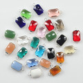 Oblong Shape Colourful Faceted Connector Pendent Crystal Bezel Connector Crystal Charm High Quality for Jewelry Making 10*14mm