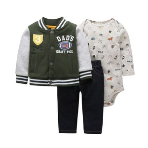 Image 2 - 2020 autumn newborn baby clothes cotton sports style jacket+romper+pants 3 pcs clothing set for 6 24M baby girls outfit set
