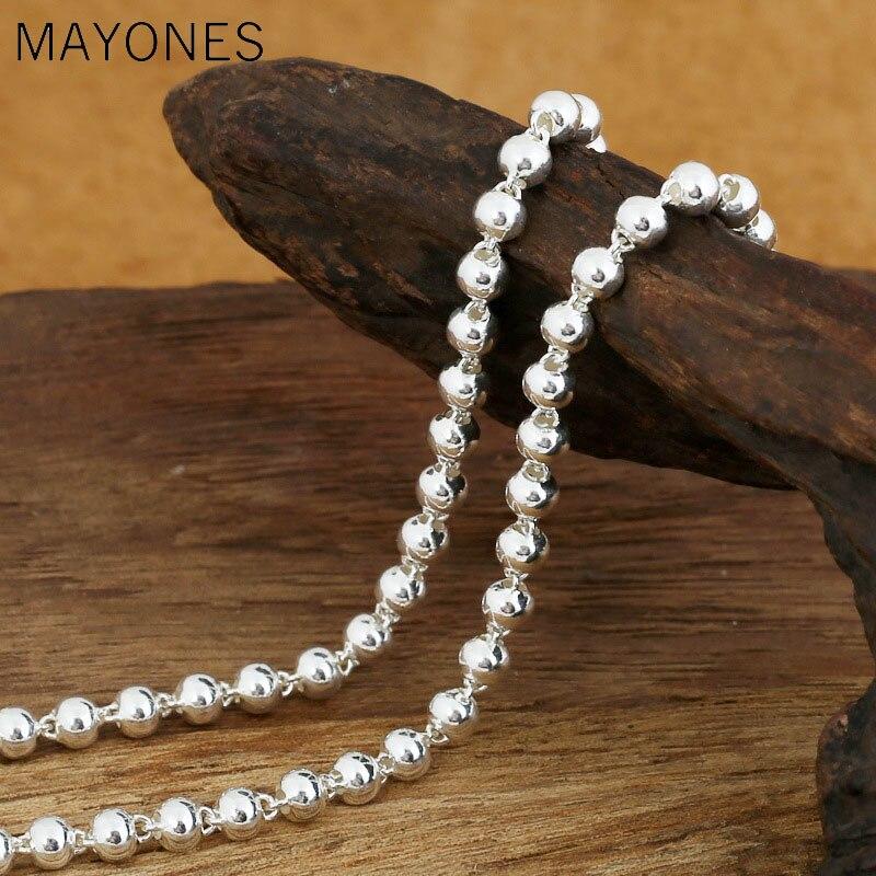4mm perles chaîne colliers 925 argent 45 cm à 80 cm mode Original S925 Thai argent hommes collier bijoux livraison gratuite