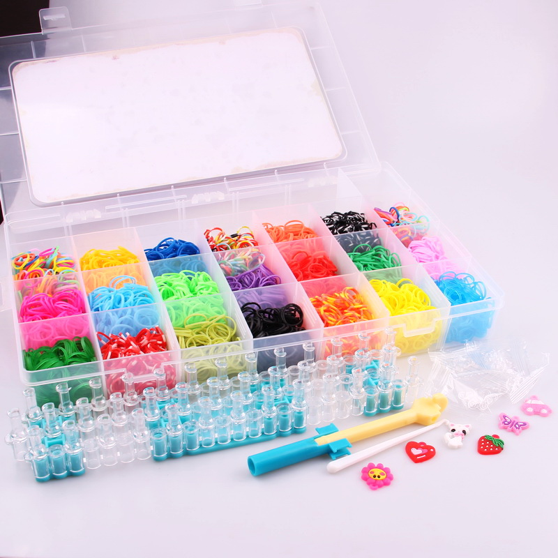 High Quality Mix Color Rubber Bands Set Fun Loom Bands Kit For DIY Kids Bracelet Charms,1 Plastic Box+Hook+S-clip+Loom diy elastic silicone bands s hook set for children blue