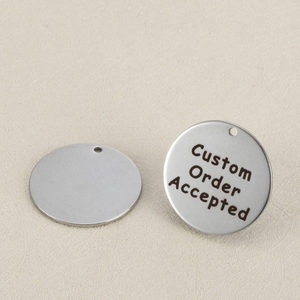 Image 1 - 50pcs/lot 25mm Stainless Steel Custom Charms Engrave Customized Logo Never Fade