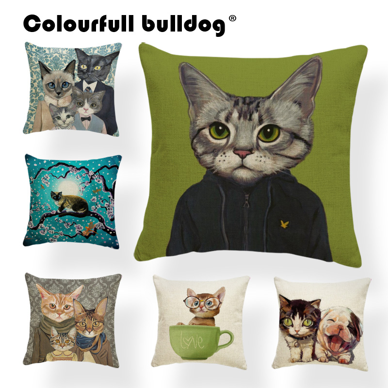 Cats Creativity Cushion Cover Animal Family Dogs Pillow Rock Lounger Chair Holiday Gift Throw Pillow Case Dragonfly 17X17 Linen