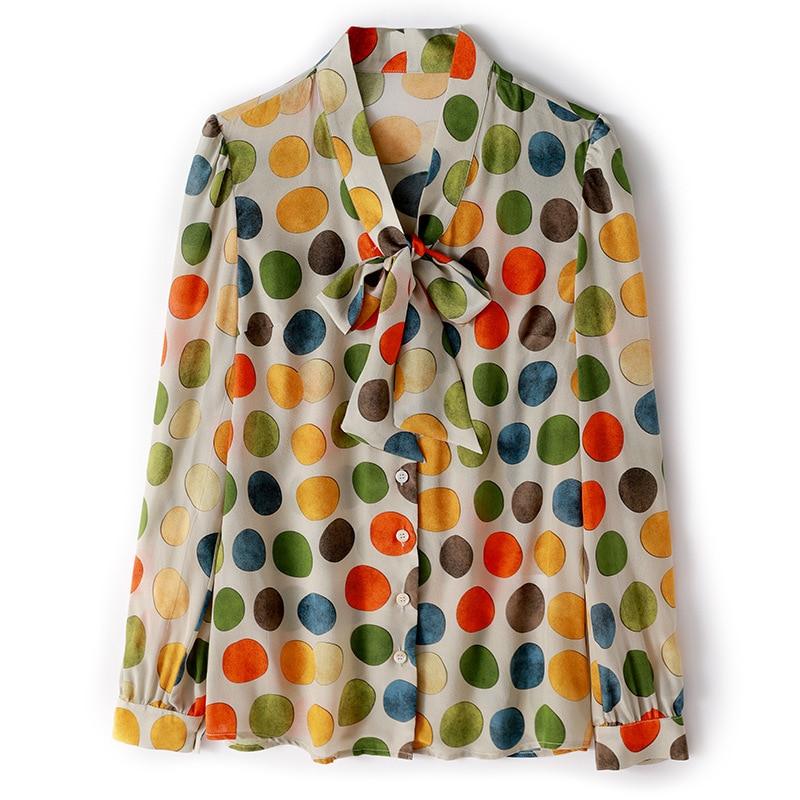 Multiple Seda Imprimir Camisa Manga Tops Blusa Moda Mujer Polka Diseñadores Blusas Y Primavera Oficina Lazo Larga De 2019 Dot 100 Collar Rxa4qn