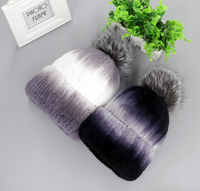 2016 Fashion Genuine Real Rex Rabbit Fur Handmade Stripe Sew Silver Fox Fur Pom Pom Ball