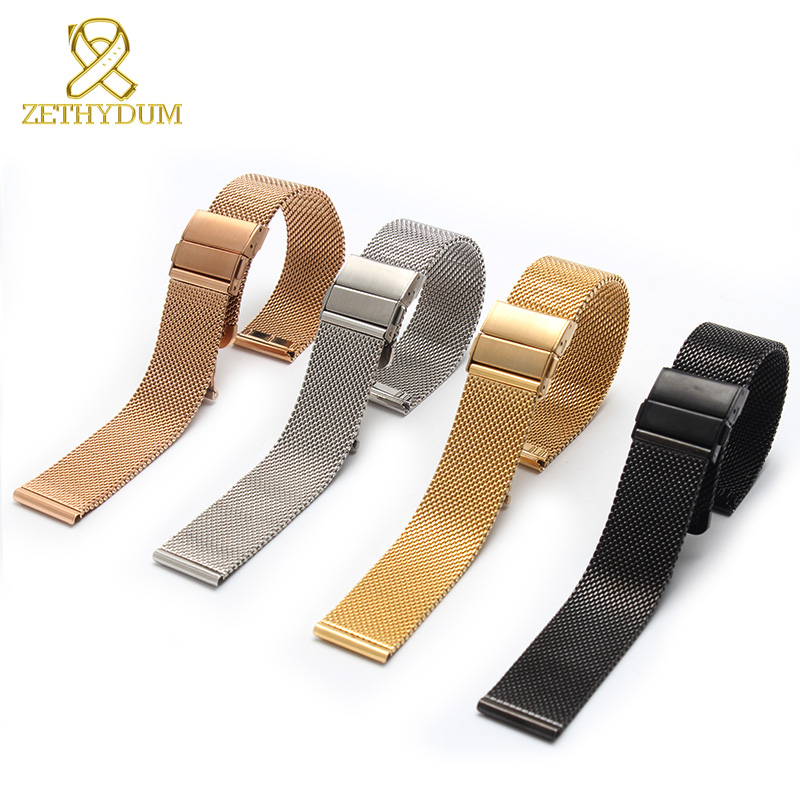 Milan mesh stainless steel bracelet Thin watch strap The butterfly buckle brand 16 18 20mm watch belt metal watchband
