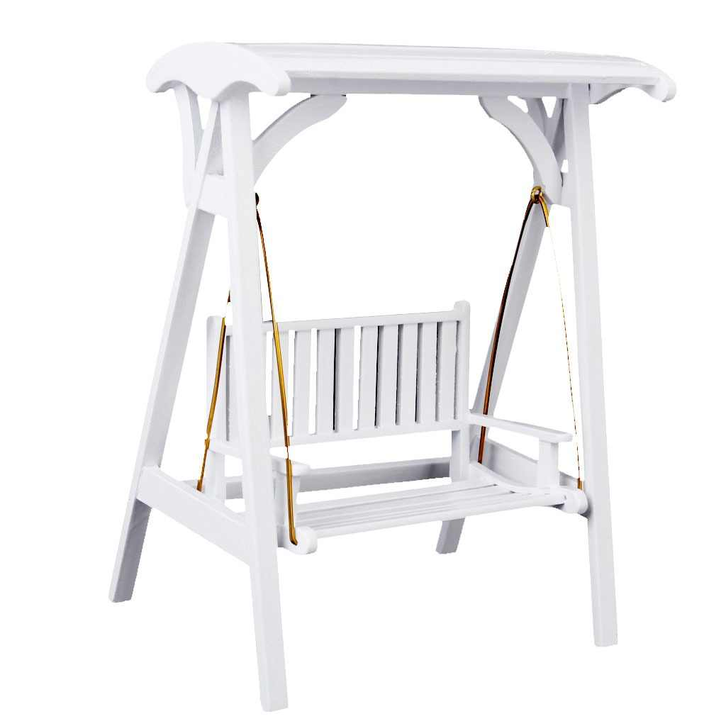 New 1/12 Scale Dollhouse Miniature Garden Furniture Wooden Swing Rocking Chair White 1:12 Doll House Decor Accessory Kids Toy