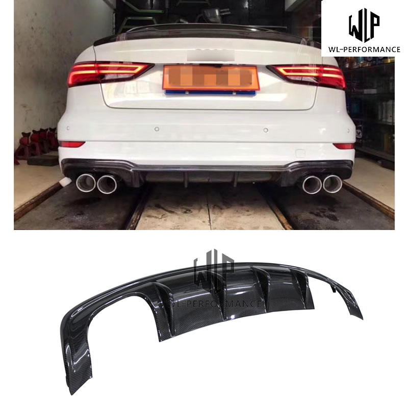 A3 S3 Style Carben Fiber Rear Lip Diffuser Car Styling For Audi A3 Back Bumper Car Body Kit 2013-UP