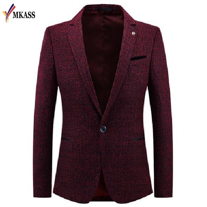 Новая мода Для мужчин Повседневное костюм Бизнес Стиль Для мужчин с длинным рукавом Slim Fit Костюмы мужской пиджак одна кнопка Костюмы M-3XL