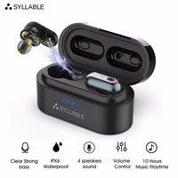 SYLLABLE S101 TWS Bluetooth Earphones with QCC3020 chip Earbuds Strong bass Waterproof sport Headset 500mAh S101 Volume control