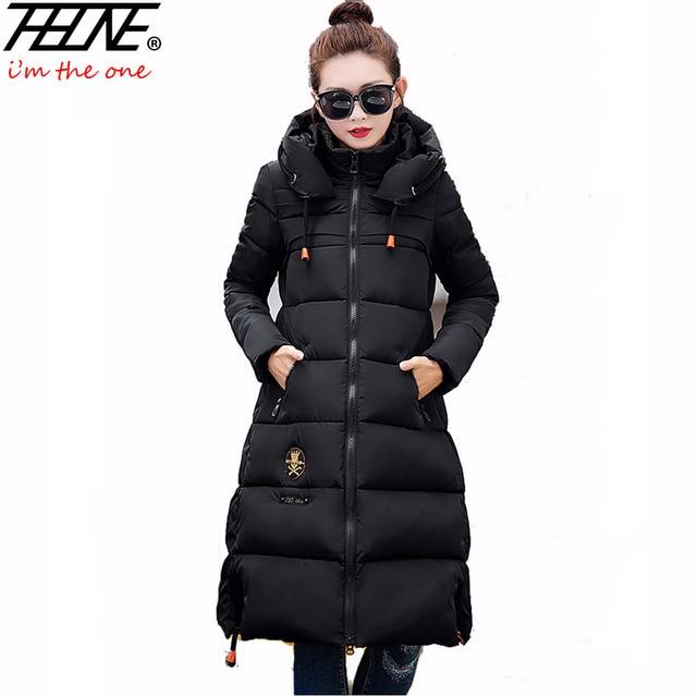 2016 Para Baixo Parka Mulheres Jaqueta de Inverno Longo Casaco Com Capuz Moda Slim Fit Outwear Quente Grosso Inverno Militar Casaco Feminino Para Baixo jaqueta