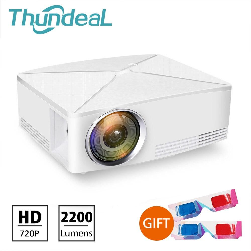 ThundeaL GP70 Atualização TD80 Mini LED Projetor Portátil 1280x720 HD de Vídeo HDMI C80 3D LCD (TD80UP Android wiFi Beamer Opcional)