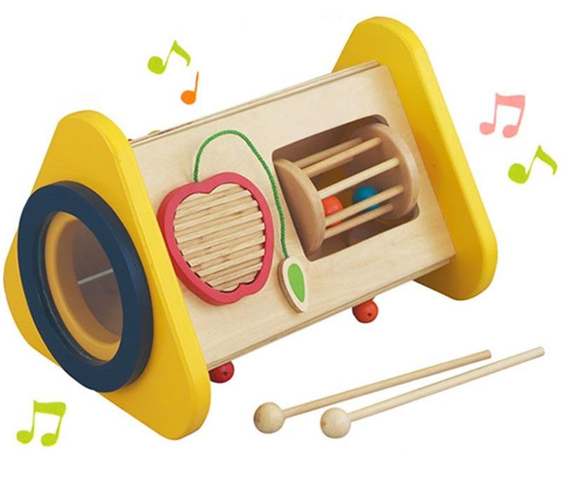 नई लकड़ी के संगीत खिलौना 3-1 बहुक्रियात्मक टकराव बच्चों के बच्चे के खिलौने मुफ्त शिपिंग