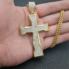 цены Hip Hop Iced Out Bling Cross Christ Necklaces Pendants Gold Color Stainless Steel Crucifix Necklace Christian Jewelry XL1301
