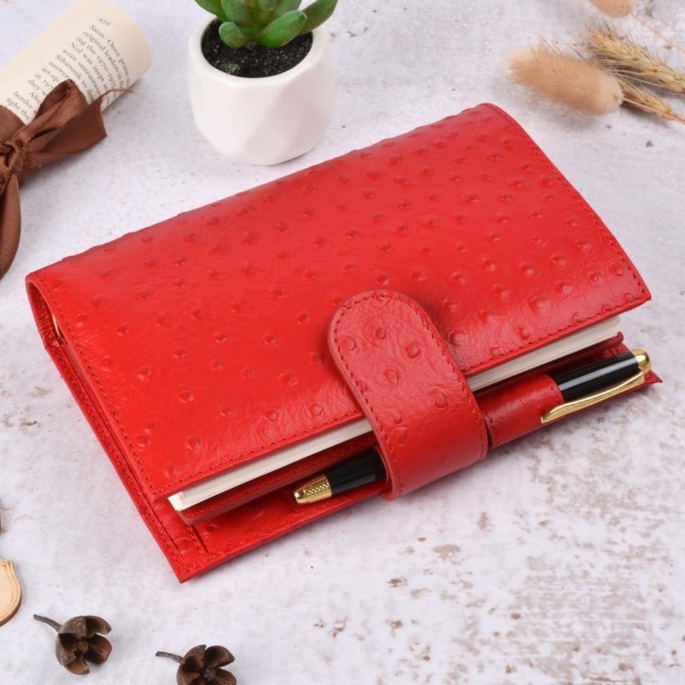 Anillas de cuero genuino de Color rojo avestruz cuaderno 135x192mm diario Personal Carpeta de oro planificador diario organizador de Agenda hecho a mano