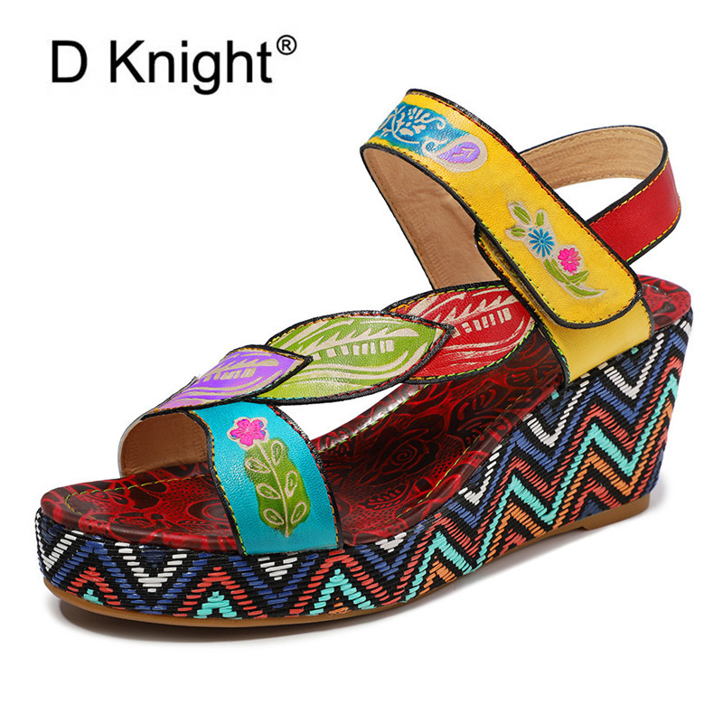 Bohemian Wedges Women Sandals For Lady Shoes High Platform Open Toe Handmade Genuine Leather Heel Pumps Woman