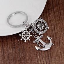 24 Pcs/Lot  Keychain Trinket Retro Compass Anchor Key Chain Rudder Key Ring Vintage metal Anchor Souvenirs Bulk Wholesale