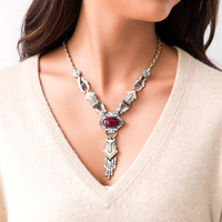 Red Imitation Gemstone Geometric Pendant Necklace Online Shopping India Women Vintage Long Necklace Collares