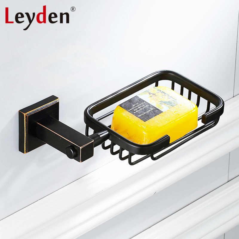 Leyden nowy mosiądz olej wcierane brąz mydelniczki ceramiczne mydło kosz do montażu na ścianie mydelniczka prysznicowa uchwyt na akcesoria łazienkowe