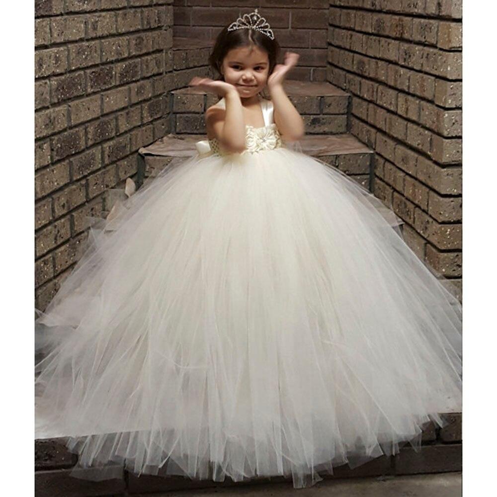 Gorgeous Ivory Full Fluffy Flower Girl Tutu Dress Handmade Crochet Tulle Tutu Dresses Perfect For Birthday Wedding With Crown