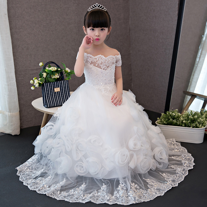 Shoulderless Appliques Long Flower Girl Dresses Wedding Ball Gown Floral Princess Dress Evening Maxi Kids Girls Dress for Party